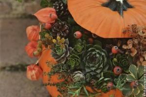 Tökdíszítés élő virággal
